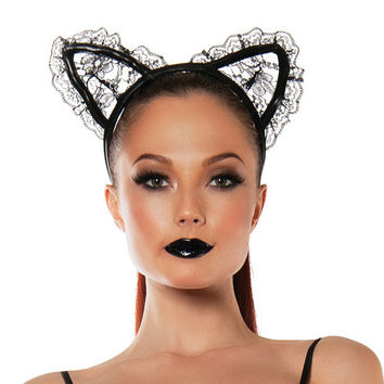 Roleplay Lace Cat Ears Black O-s