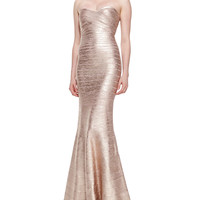 Women's Sara Signature Metallic Bandage Gown - Herve Leger - Rose gold combo