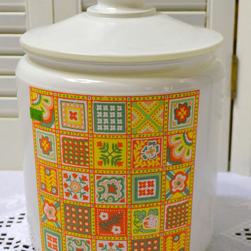 Vintage Glass Cookie Jar Patchwork Yellow Orange Green Avon PanchosPorch