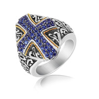 18K Yellow Gold and Sterling Silver Ring with Blue Sapphire Encrusted Cross: Size 7