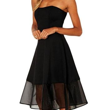 A| Chicloth Sexy Women Off the Shoulder Mesh Dress Sleeveless Backless Zip Party Club A-Line Midi Dresses