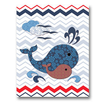 Nautical bathroom art nursery wall decor kids room artwork baby boy room poster playroom decoration navy blue red whale baby shower gift