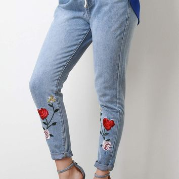 Floral Applique High Waisted Drawstring Denim Jeans