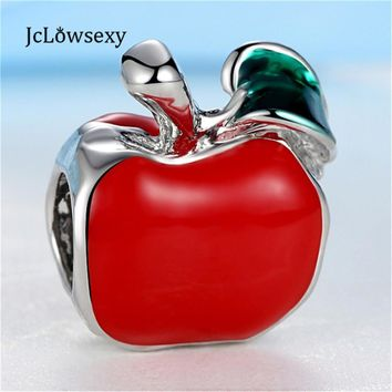 2016 New Alloy Silver Plated Bead Red Glaze Fruit Apple Beads Charm Fit Pandora Women
