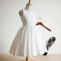 "The ""Samantha"" Vintage Ivory Satin/Cotton Flower Girl Dress with Buttons"