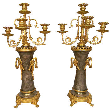 French Bronze Candelabras, Pair