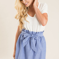 Grace Blue Bow Tie Skirt