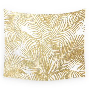Society6 Elegant Faux Gold Glitter Tropical Plant Wall Tapestry