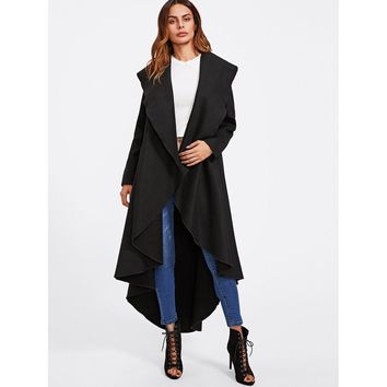 Exaggerate Collar Curved High Low Coat