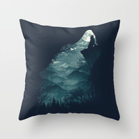 Hungry Wolf Throw Pillow by Dan Elijah G. Fajardo