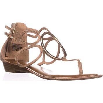 Zigi Soho Markah Strappy Metal Embellished Flat Sandals, Natural Sand, 7.5 US