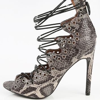 Wild Diva Lounge Griffin-01 Lace Up Snake Heels