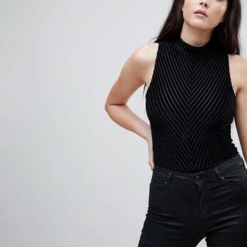 ASOS Body With High Neck & Open Back In Velvet Stripe at asos.com