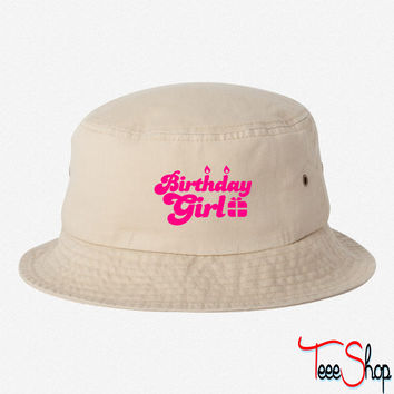 birthday girl new with present bucket hat