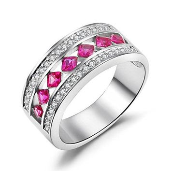 Caperci Sterling Silver Cubic Zirconia amp Princess Cut Created Ruby Wedding Band Ring for Women