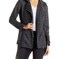 Belted Fleece Trench Coat with Zipper & Pockets
