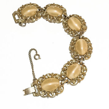BLACK FRIDAY DISCOUNT Victorian Revival Bracelet, Fawn Cat's Eye Cabochons, Filigree Goldtone, 1950s, 1960s