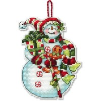 SNOWMAN WITH SWEETS ORNAMENT - Counted Cross Stitch Kit