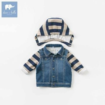 Trendy DB8705 dave bella autumn baby boys hooded coat kids denim outerwear children hight quality clothes infant toddler clothing AT_94_13