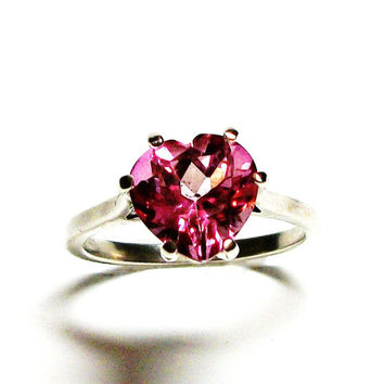 "Pink topaz ring, topaz ring, solitaire ring, heart ring,  pink, wedding/ anniversary ring s7  ""Pretty in Pink"""