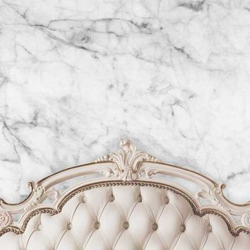 Beige Ivory Tufted Headboard With White Marble Wall Printed Background - 6202