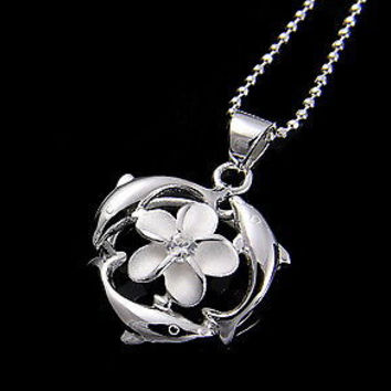 SILVER HAWAIIAN PLUMERIA PENDANT CZ WITH DOLPHIN AROUND
