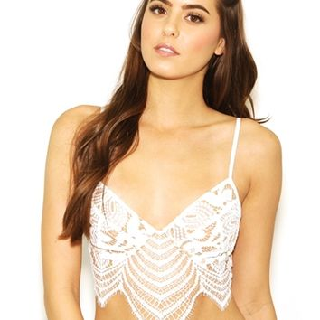 For Love & Lemons Skivvies Snapdragon Underwire Bralette in White | Boutique To You