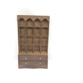 Vintage Handmade Wooden Thimble Display Case Welsh Dresser Style, Miniatures Display Case, Thimble Collector Display