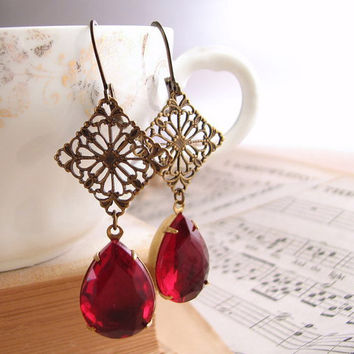 Ruby rhinestone earrings teardrop Victorian by shadowjewels