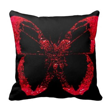 Black and red Butterfly Modern chic Decor Pillow
