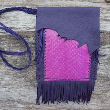 Large Purple Medicine Bag, Purse, Cross Body Bag, Snake Skin, Deer Leather Lace, Goat Leather, Braided Fringed