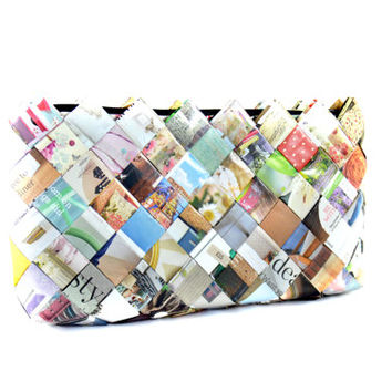 Paper clutch bag , unique recycled magazine bag , handmade paper purse , zipper clutch , women fashion , women purse