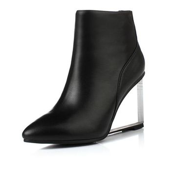 Pointed Toe Leather Wedge Boots