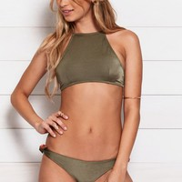 Kovey Bay Floral Trim Halter Bikini Top - Womens Swimwear - Green - Medium