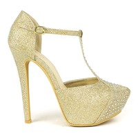 Celeste Sheri-02 T-strap Dress Pump in Gold @ ippolitan.com