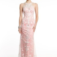 Chiffon Dress With Illusion and Appliques