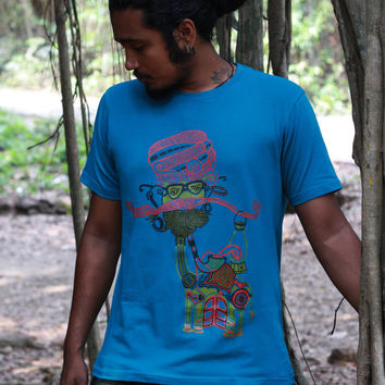 Mustache Man T shirt -Indian Art-Graphic T shirt-Psychedelic t shirt -Tribal T shirt- Camel T shirt - Pipe Man Shirt- Hipster T shirt