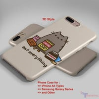 Pusheen The Cat Very Lazy - Personalized iPhone 7 Case, iPhone 6/6S Plus, 5 5S SE, 7S Plus, Samsung Galaxy S5 S6 S7 S8 Case, and Other
