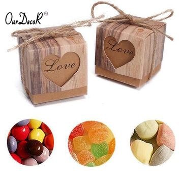 pcs  Candy  Wedding  Hearts  Rustic  Kraft  Imitation