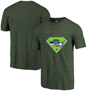 High Quality Fashion Men's Seahawks Fans T-Shirt, Seattle Tees Superman S Logo Picture Print Classical Summer O-neck T Shirts