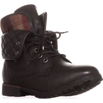 Rock & Candy Spraypaint Foldover Ankle Boots, Black Quilted, 6 US