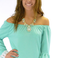 Gatsby Mint Crystal Statment Necklace