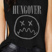 Women's Hungover Black Side Tie Muscle T-Shirt