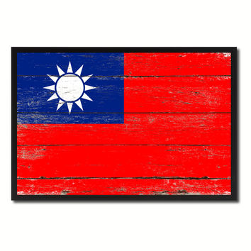 Taiwan Country National Flag Vintage Canvas Print with Picture Frame Home Decor Wall Art Collection Gift Ideas