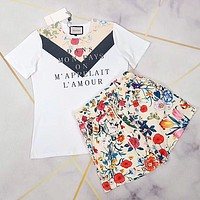 GUCCI Women Casual Short Sleeve Top Shorts Two-Piece