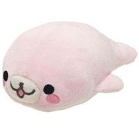 kawaii San-X plush toy pale pink Mamegoma seal