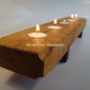 Black cherry and walnut tea light candle holder