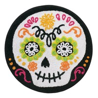 Halloween Sugar Skull Bath Rug (Black)