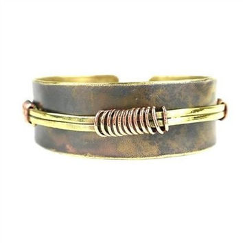 Wrapped Wire Copper and Brass Cuff - Brass Images (C)