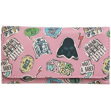Star Wars Sketched Comic Pink Trifold Wallet